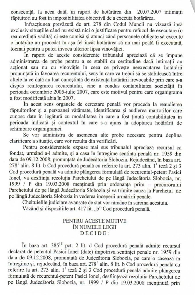 Tribunalul Ialomita restabileste onoarea justitiei